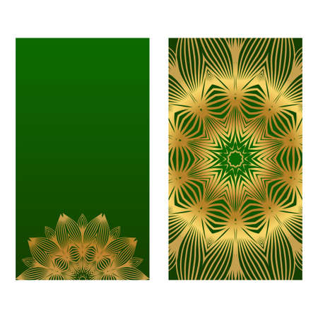 Invitation Or Card Template With Floral Mandala Pattern. For Wedding, Greeting Cards, Birthday Invitation. The Front And Rear Side. Vector Illustration. Green gold color.