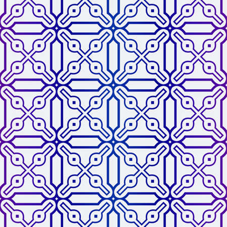 Luxury Geometric Ornament. Seamless Pattern. Color. Vector Illustration. For Wallpaper, Invitation, Holiday Background. Blue purple gradient.