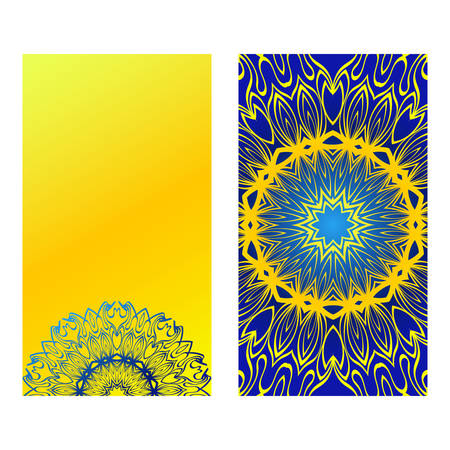 Set Of Template Greeting Card, Invitation With Space For Text. Mandala Design. Vector Illustration. Yellow blue color. Illusztráció