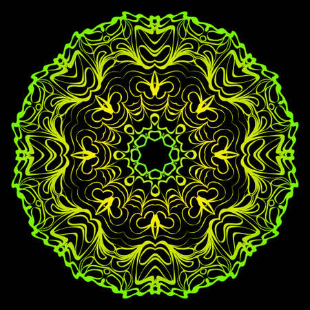 Round Floral Mandala Ornament. Vector Illustration. Isolated. Oriental Design Layout. Black green color.