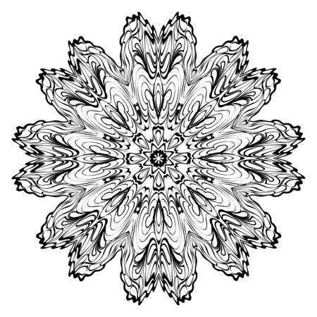 Decorative Ornament With Mandala. Home Decor Background. Vector Illustration. For Coloring Book, Greeting Card, Invitation, Tattoo. Anti-Stress Therapy Pattern. White, black. Vecteurs