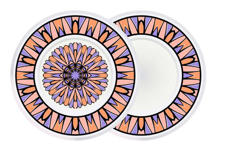 Set of two Round Mandala and frame. For Coloring Book, Greeting Card, Invitation, Tattoo. Anti-Stress Therapy Pattern. Vector Illustration.