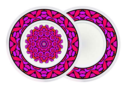 Set of Vector Pattern With Abstract Floral Round Ornament and round frame. Oriental Pattern. Indian, Moroccan, Mystic, Ottoman Motifs. Anti-Stress Therapy Pattern.