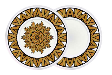Set of Fashion Print With Mandala Floral Ornament and round frame. Vector Illustration. Art Traditional, Islam, Arabic, Indian, Magazine, Elements With Mandala.