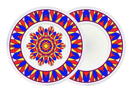 Set of two Design With Floral Mandala Ornament and round frame. Vector Illustration. Oriental Pattern. Indian, Moroccan, Mystic, Ottoman Motifs. Anti-Stress Therapy Pattern.