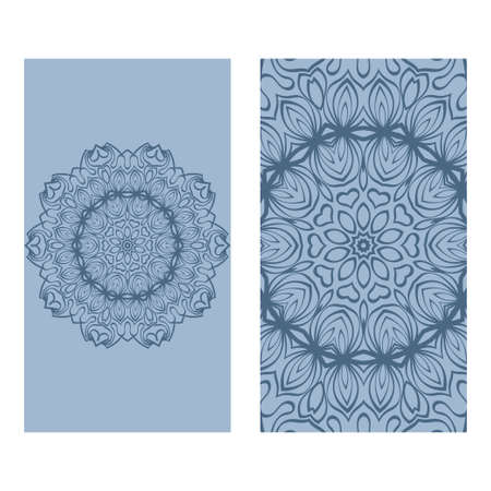 Ethnic Mandala Ornament. Templates With Mandalas. Vector Illustration For Congratulation Or Invitation. The Front And Rear Side. Blue pastel color.