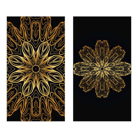 Luxury Vintage Invitation Or Wedding Card. Vector Illustatration. The Front And Rear Side. Gold on black color.
