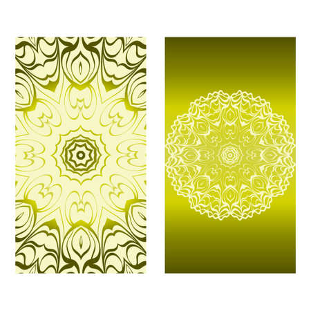 Design Vintage Cards With Floral Mandala Pattern And Ornaments. Vector Template. Islam, Arabic, Indian, Mexican Ottoman Motifs. Hand Drawn Background. Olive color.