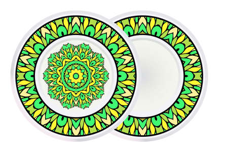 Set of Mandala and round frame. Abstract Round Vector Illustration. Anti-Stress Therapy Pattern.