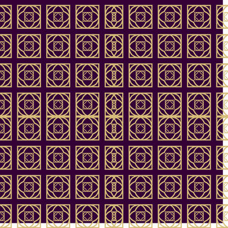 Seamless Geometrical Linear Texture. Original Geometrical Puzzle. Backdrop. Vector Illustration. For Design, Wallpaper, Fashion, Print. Purple gold color. Illustration