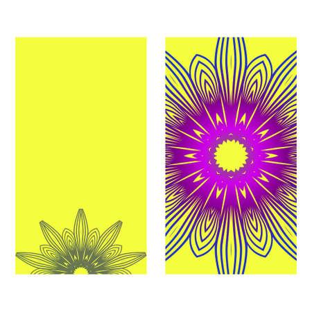 Ethnic Mandala Ornament. Templates With Mandalas. Vector Illustration For Congratulation Or Invitation Diwali Festival Greeting Card. Yellow purple color.