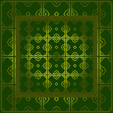 Geometric Ornament With Frame, Border. Art-Deco Background. Bandanna, Shawl, Scarf, Tablecloth Design. Ilustração