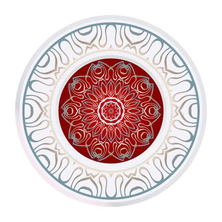 Sagrado Mandala Oriental. Adorno floral de color. Formas abstractas en estilo asiático. Ilustración de vector.