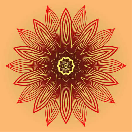 Ornamental Circle Pattern. Sacred Oriental Mandala. Color Floral Ornament. Vector Illustration. For Coloring Book, Card, Invitation, Tattoo. Anti-Stress Therapy Pattern. Red orange gold colour Ilustração