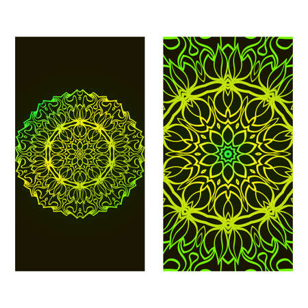 Set Of Template Greeting Card, Invitation With Space For Text. Mandala Design. Vector Illustration. Black green color.