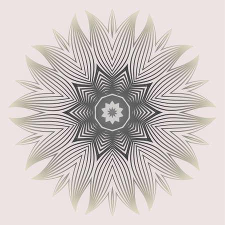 Round Pattern Flower Mandala. Circle Floral Ornament. Legend Decorative Vector Illustration. White grey color Ilustração
