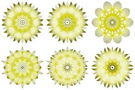 Set of Vector Illustration. Modern Decorative Floral Mandala. Hand Drawn Background. Islam, Arabic, Indian, Ottoman Motifs. Green olive color.