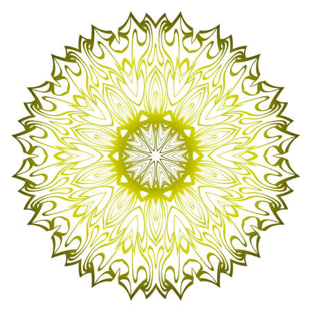 Mandala. For Design, Greeting Card, Invitation, Coloring Book. Arabic, Indian, Motifs. Vector Illustration. Green olive color.