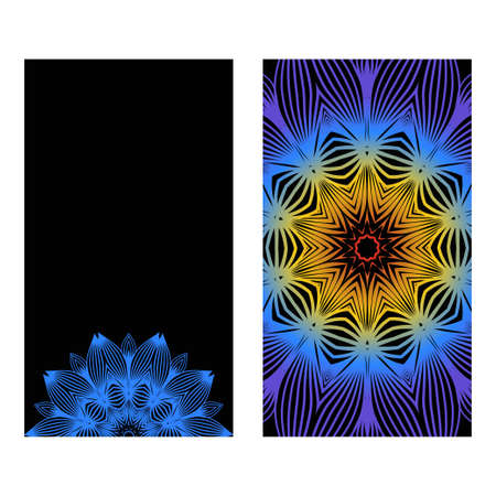 Yoga Card Template With Mandala Pattern. For Business Card, Meditation Class. Vector Illustration. Fantastic gradient color