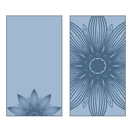 Vector Mandala Pattern. Template For Flyer Or Invitation Card Design. Pastel blue color.