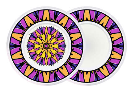 Set of two Round Mandala and frame. For Coloring Book, Greeting Card, Invitation, Tattoo. Anti-Stress Therapy Pattern. Vector Illustration. 矢量图像