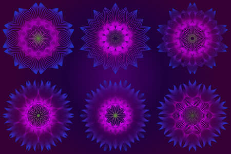 Set of purple color Floral Mandala. Arabic, Indian, Motifs. Vector Illustration