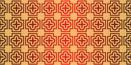 Geometric Pattern, Lace Geometric Ornament. Ethnic Ornament. Vector Illustration. For Greeting Cards, Invitations, Cover Book, Fabric, Scrapbooks. Sunrise red color. 向量圖像