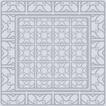Design Of A Scarf With A Geometric Pattern . Vector Illustration. For Print Bandana, Shawl, Carpet, Tablecloth, Bed Cloth, Fashion. Standard-Bild - 121613190