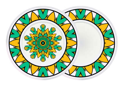 Set of two Round Floral Ornament Mandala. Vector Illustration.. For Home Decor, Interior Design, Coloring Book, Greeting Card, Invitation, Tattoo. Anti-Stress Therapy Pattern. Ilustração