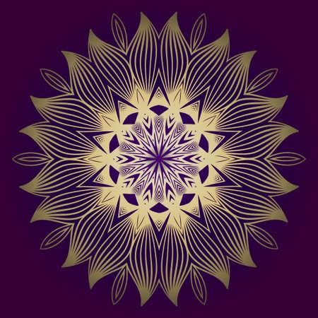 Pattern Of Mandala. Vector Illustration. Modern Decorative Floral Color Mandala. Decorative Cicle Ornament. Floral Design. Purple gold color.