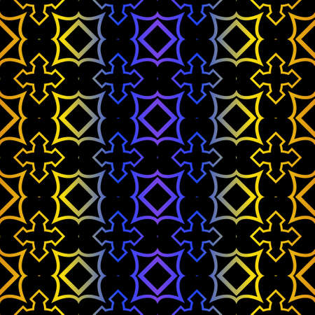Art Deco Retro Pattern Of Geometric Elements. Seamless Pattern. Vector Illustration. Design For Printing, Presentation, Textile, Business, Advert, Flyer. Blue yellow gradient on black background.  イラスト・ベクター素材