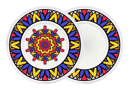 Set of two Round Mandala and frame. For Coloring Book, Greeting Card, Invitation, Tattoo. Anti-Stress Therapy Pattern. Vector Illustration. Ilustração