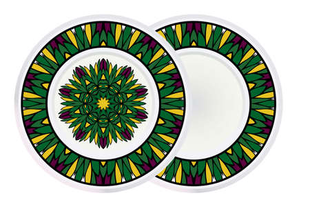Set of two Handdrawn Pattern With Round Floral Mandala and round frame. Vector Illustration. Oriental Pattern. Indian, Moroccan, Mystic, Ottoman Motifs. Anti-Stress Therapy Pattern.