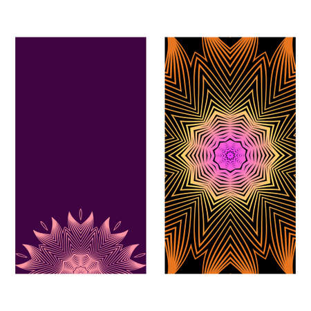 Flyers, Banner Template With Mandala Ornament. Vector Design. Ottoman, Arabic, Oriental, Turkish, Indian,Motif. Purple bronze color.