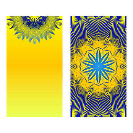 Relax Cards With Mandala Formed Flowers, Boho Style, Vector Illustration. For Wedding, Bridal, Valentines Day, Greeting Card Invitation. Blue yellow color. Çizim
