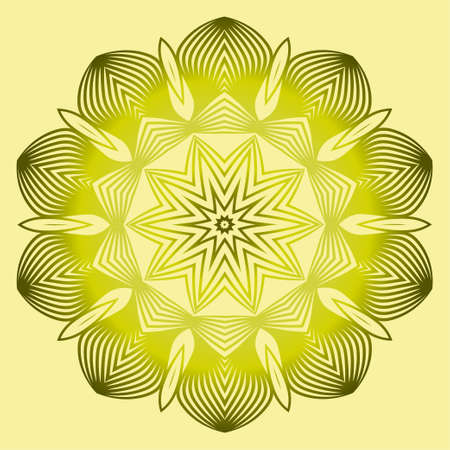 Mandala Style Vector Shapes. Decorative Cicle Ornament. Floral Design. Yellow green olive color