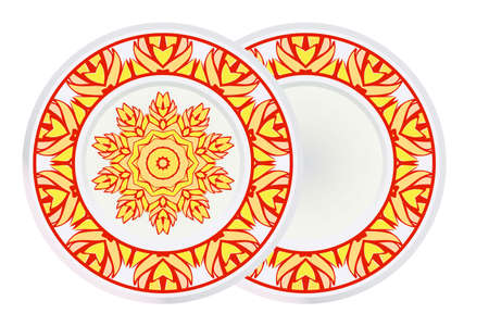 Set of two Round Symmetrical Pattern with Mandala and round frame. Kaleidoscopic Design. Vector Illustration. Oriental Pattern. Indian, Moroccan, Mystic, Ottoman Motifs. Anti-Stress Therapy Pattern.
