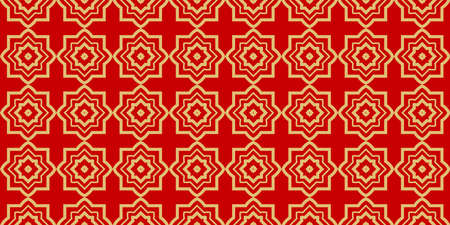 Modern Stylish Geometry Seamless Pattern Art Deco Background. Luxury Texture For Wallpaper, Invitation. Vector Illustration And Handmade Symbol. Red gold color.