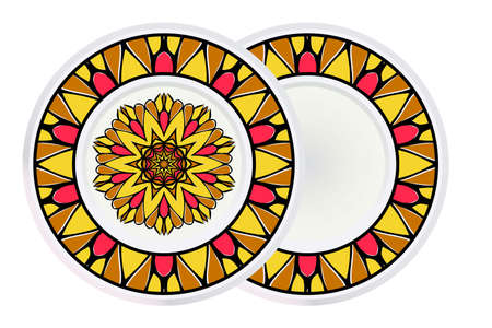 Set of two Handdrawn Pattern With Round Floral Mandala and round frame. Vector Illustration. Oriental Pattern. Indian, Moroccan, Mystic, Ottoman Motifs. Anti-Stress Therapy Pattern. Ilustração