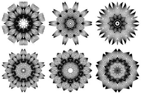 Set of Pattern Of Mandala . Vector Illustration. Modern Decorative Floral Color Mandala. Decorative Cicle Ornament. Floral Design. Black white color. Çizim