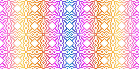 Modern Traditional Geometric Seamless Pattern. Decorative Texture For Wallpaper, Invitation, Fabric. Vector Illustration. Rainbow neon Color