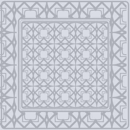 Template Print For Fabric. Pattern Of Geometric Ornament With Border. Illustration. Seamless. For Print Bandana, Shawl, Carpet.