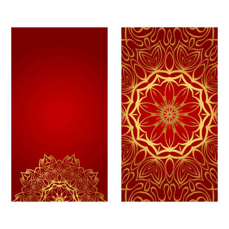 Vintage Cards With Floral Mandala Pattern. Vector Template. The Front And Rear Side. Red gold luxury color. Illustration