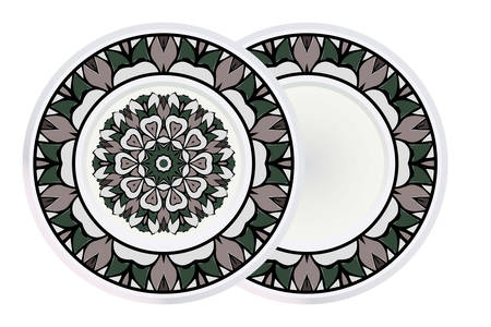 Set of two Handdrawn Pattern With Round Floral Mandala and round frame. Vector Illustration. Oriental Pattern. Indian, Moroccan, Mystic, Ottoman Motifs. Anti-Stress Therapy Pattern. Çizim