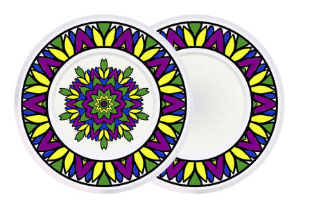 Set of two Decorative Art Deco Mandala and Border From Floral Elements. Vector Illustration. For Coloring Book, Greeting Card, Invitation, Tattoo. Anti-Stress Therapy Pattern.