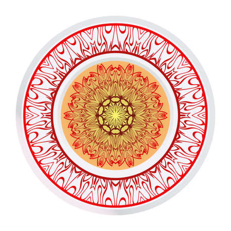 Vector Pattern With Abstract Floral Round Ornament. Oriental Pattern. Indian, Moroccan, Mystic, Ottoman Motifs. Anti-Stress Therapy Pattern