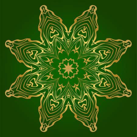 Art Deco Pattern Of Round Floral Mandala. Vector Illustration. Design For Printing, Presentation, Textile Industry. Green, gold color.