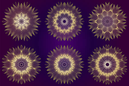 Set of Modern Decorative Floral Mandala. Decorative Cicle Ornament. Floral Design. Vector Illustration. Can Be Used For Textile, Greeting Card, Coloring Book, Phone Case Print. Purple gold color.