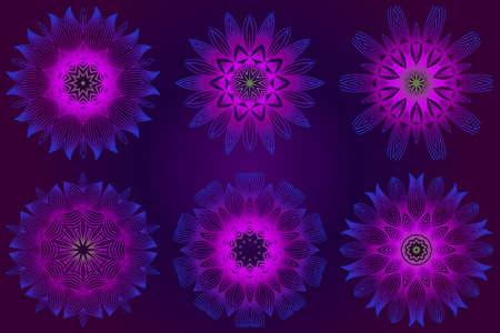Set of purple color Floral Mandala. Arabic, Indian, Motifs. Vector Illustration