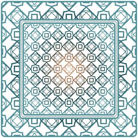 Adorno decorativo con decoración geométrica. Patrón simétrico. Para imprimir pañuelo, chal, mantel, tela de moda, bufanda, diseño.